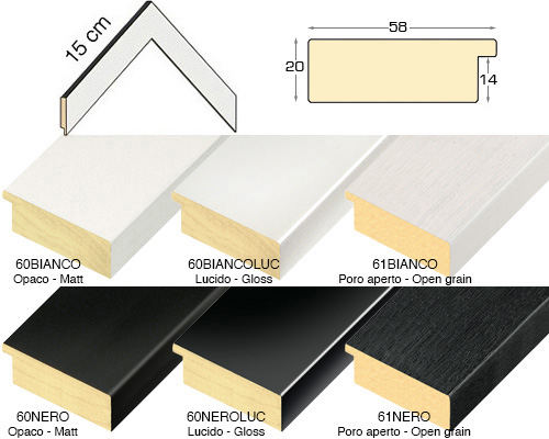 Complete set of corner samples of moulding 60 (6 pieces)