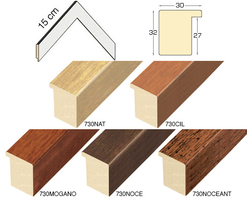 Complete set of corner samples of moulding 730 (5 pieces)