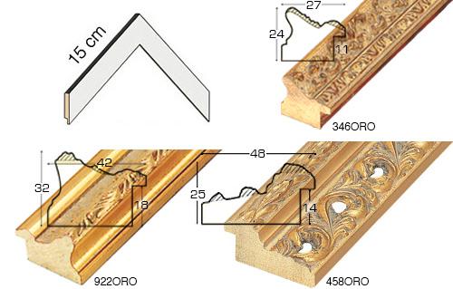 Complete set of corner samples of moulding 458 (4 pieces)