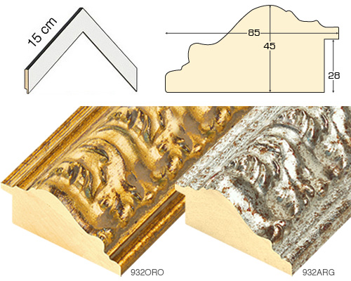 Complete set of corner samples of moulding 932 (4 pieces)