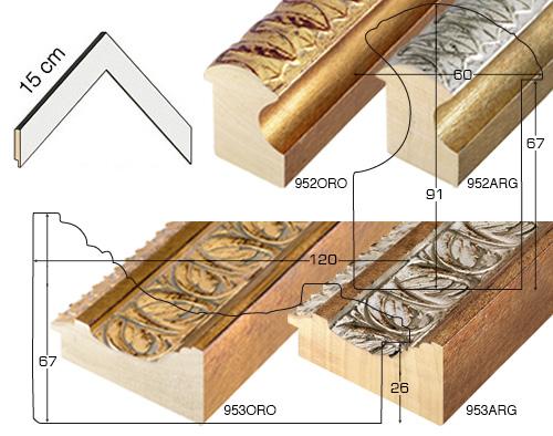 Complete set of corner samples of moulding 952 (2 pieces)
