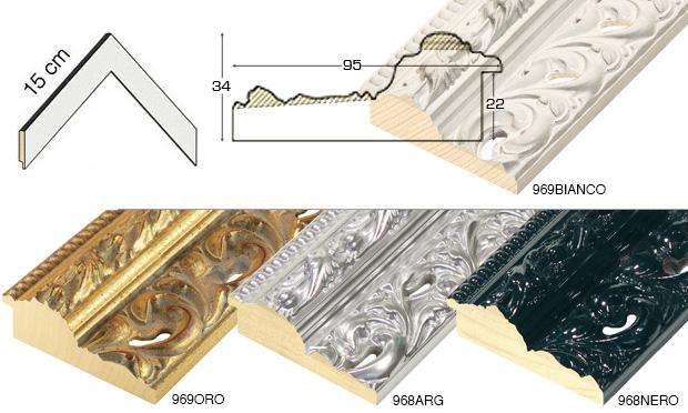 Complete set of corner samples of moulding 968 (5 pieces)