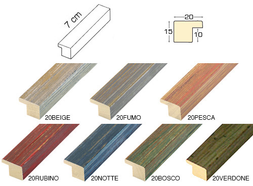 Complete set of straight samples of moulding 20 (3 pieces)
