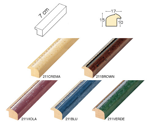 Complete set of straight samples of moulding 211 (5 pieces)