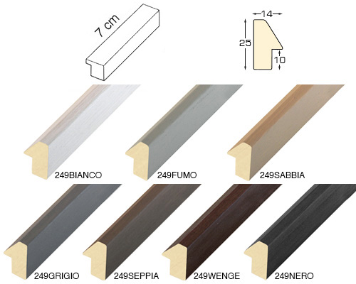 Complete set of straight samples of moulding 249 (7 pieces)