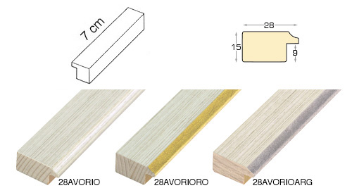 Complete set of straight samples of moulding 28 (3 pieces)