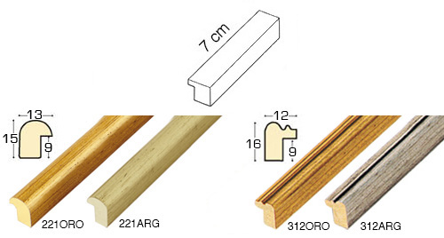Complete set of straight samples of moulding 221 (4 pieces)