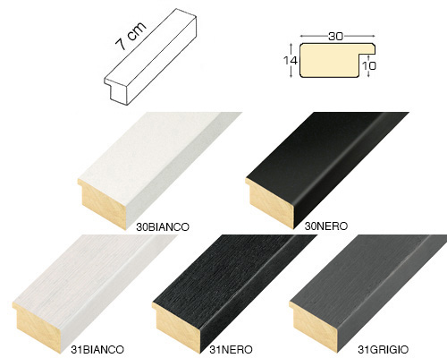 Complete set of straight samples of moulding 30 (5 pieces)