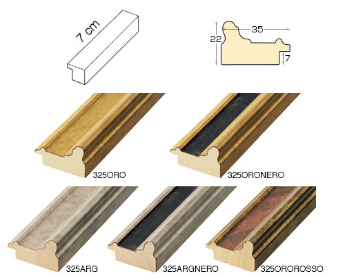 Complete set of straight samples of moulding 325 (5 pieces)