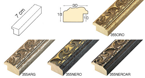 Complete set of straight samples of moulding 355 (3 pieces)