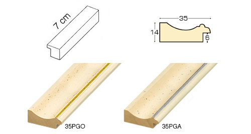 Complete set of straight samples of moulding 35 (2 pieces)