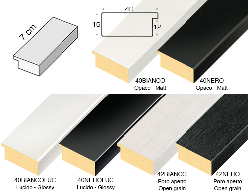 Complete set of straight samples of moulding 40 (6 pieces)
