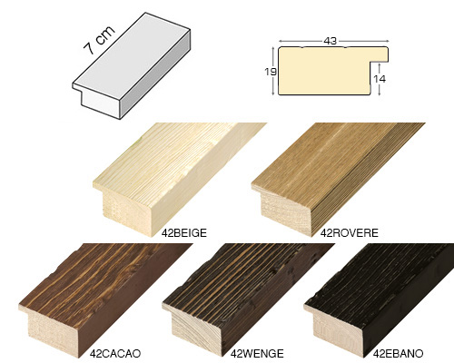 Complete set of straight samples of moulding 42 (5 pieces)