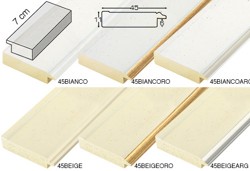 Complete set of straight samples of moulding 45 (6 pieces)