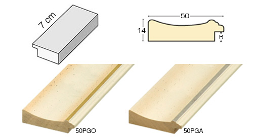 Complete set of straight samples of moulding 50 (2 pieces)