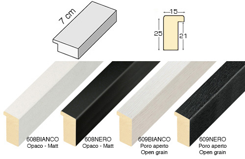 Complete set of straight samples of moulding 608 (6 pieces)