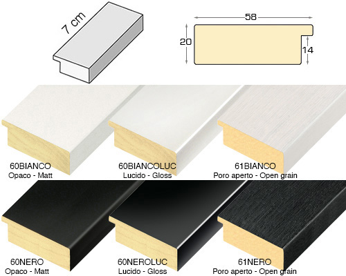 Complete set of straight samples of moulding 60 (6 pieces)