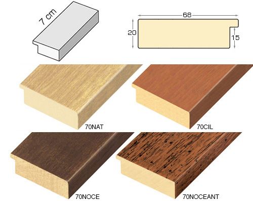 Complete set of straight samples of moulding 70 (4 pieces)