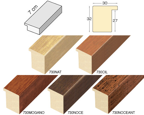Complete set of straight samples of moulding 730 (5 pieces)
