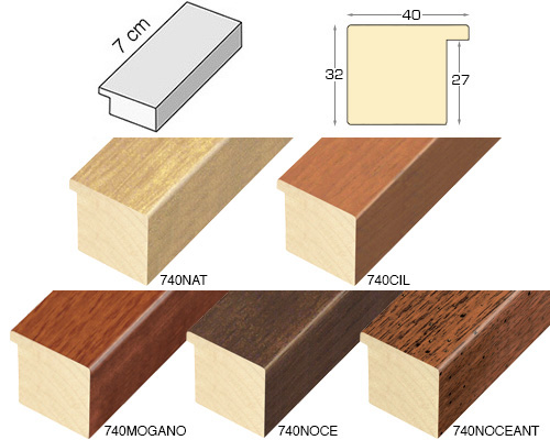 Complete set of straight samples of moulding 740 (5 pieces)