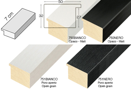 Complete set of straight samples of moulding 751 (4 pieces)