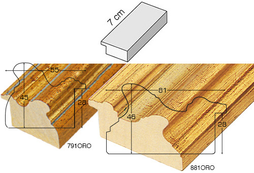 Complete set of straight samples of moulding 791 (3 pieces)