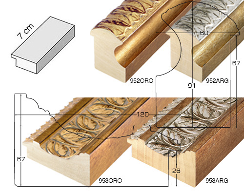 Complete set of straight samples of moulding 952