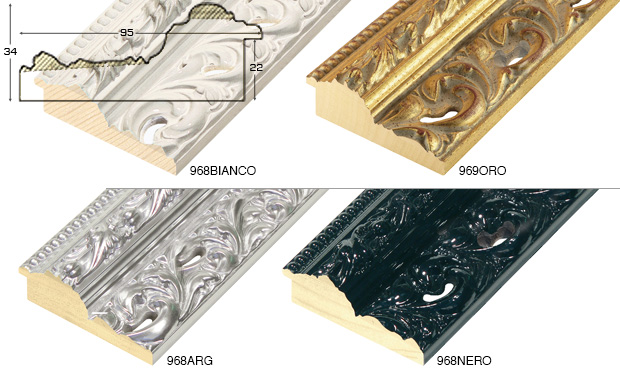 Complete set of straight samples of moulding 968