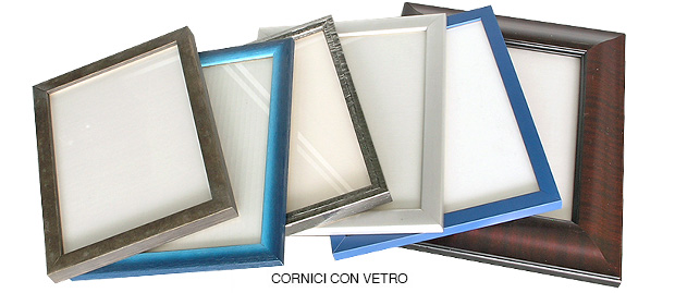 Set of various ready-made frames with glass and canvas panel