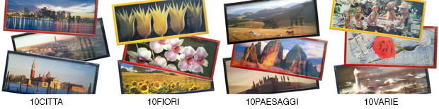 Set of 10 frames 20x49 cm with city images