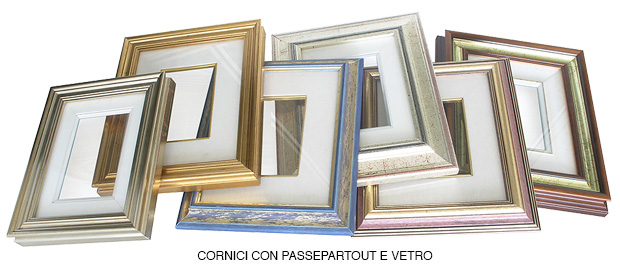 Set of various ready-made frames with matboard
