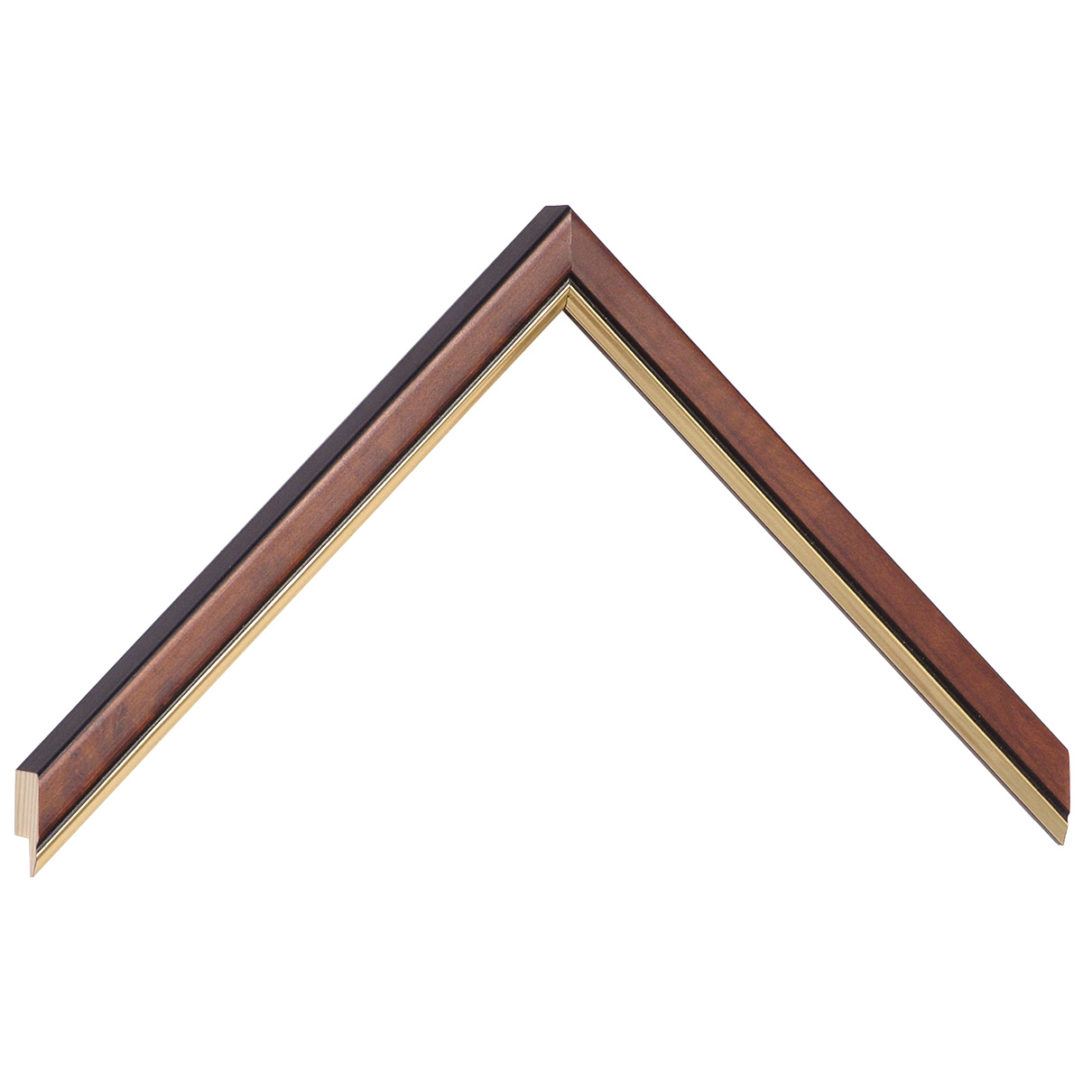 Moulding burl veneer 15mm - matt brown with gold fillet
