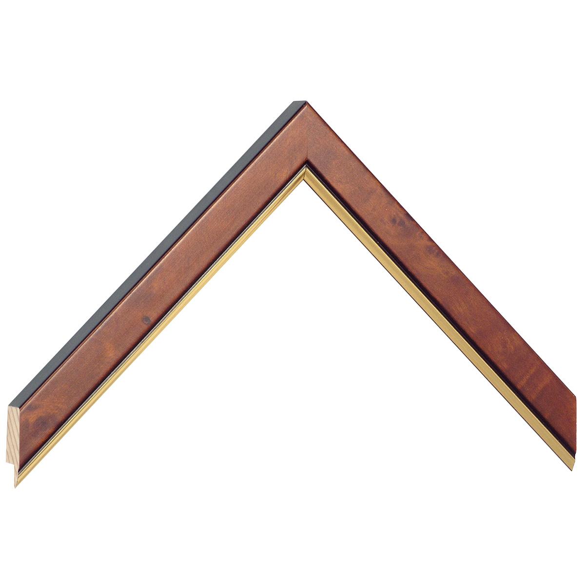 Moulding burl veneer 20mm - matt brown with gold edge