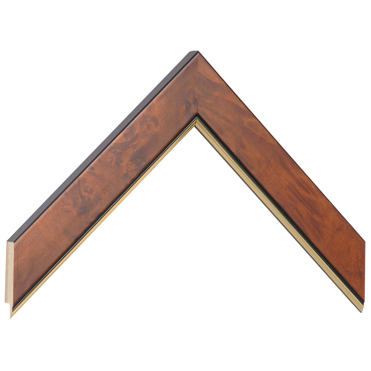 Moulding burl veneer 30mm - matt brown with gold edge