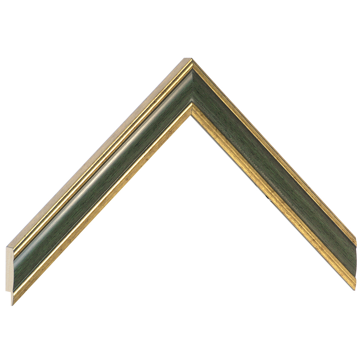 Moulding ayous - Width 23mm - Gold with olive green band