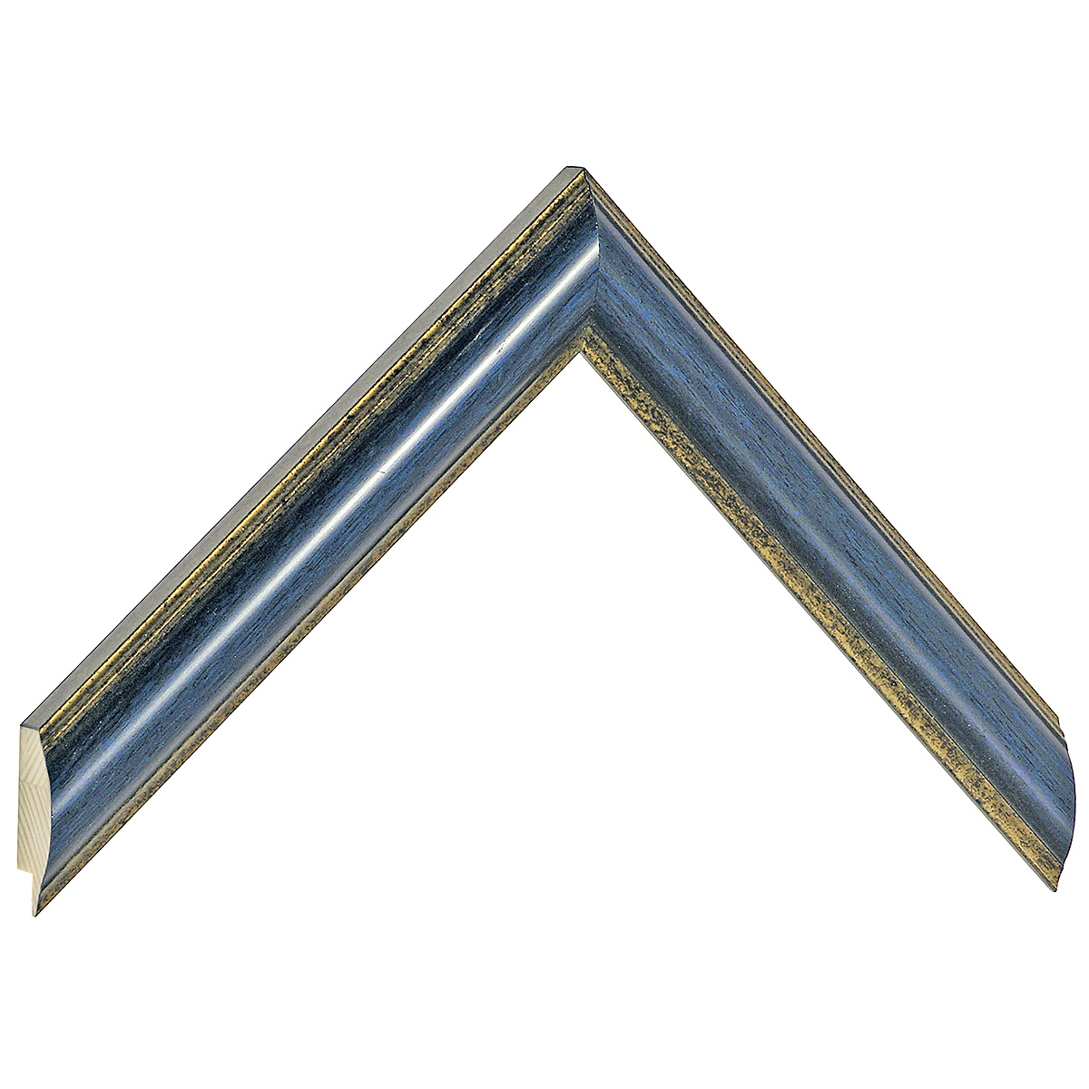 Moulding ayous - Width 25mm - blue, gold sight edge