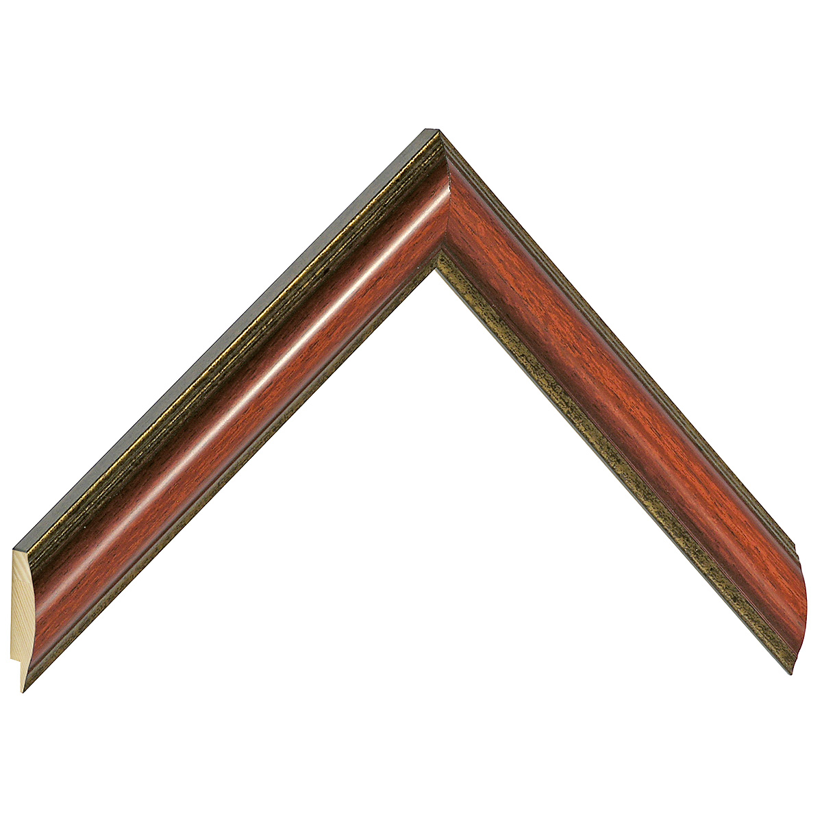 Moulding ayous - Width 25mm - mahogany, gold sight edge