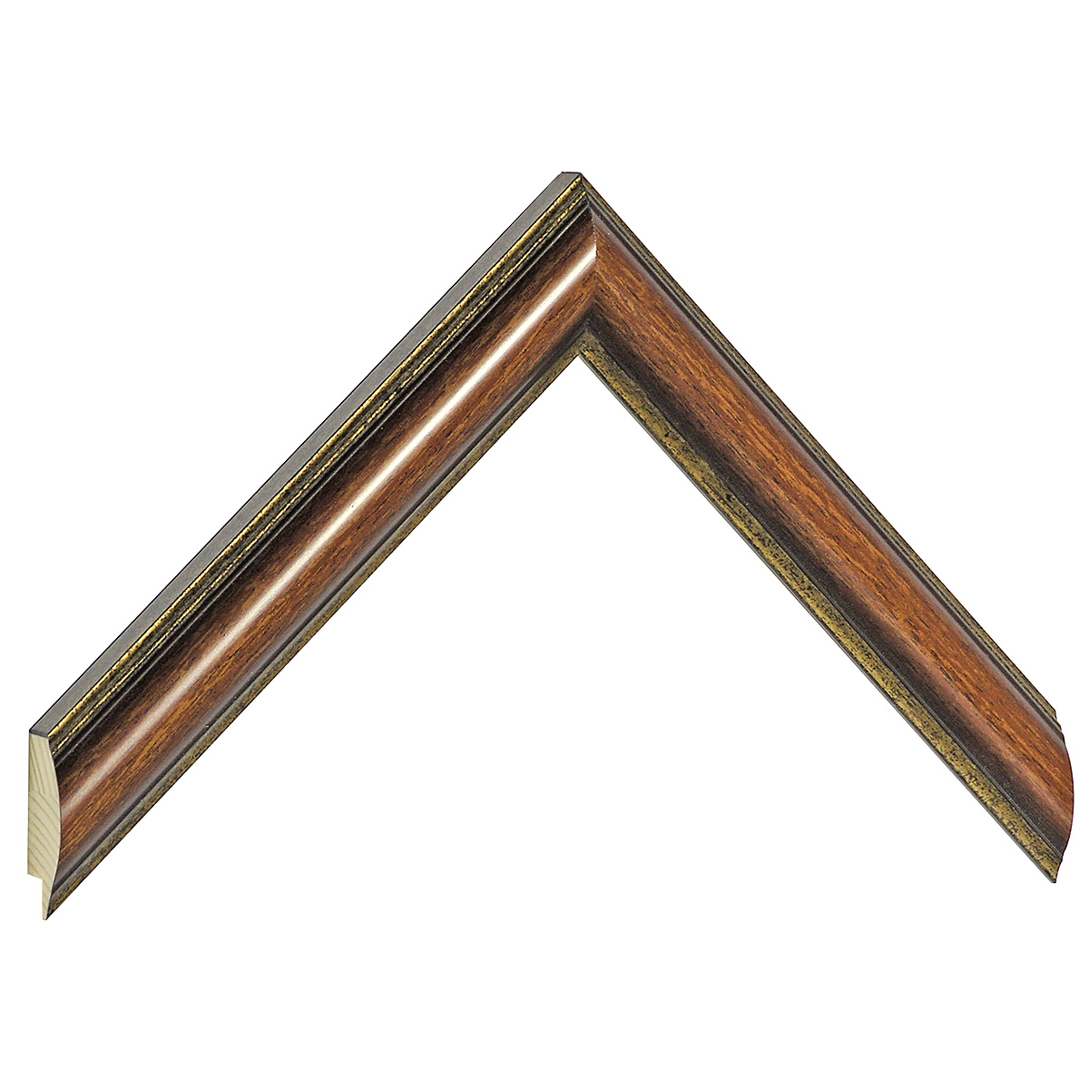 Moulding ayous - Width 25mm - walnut, gold sight edge