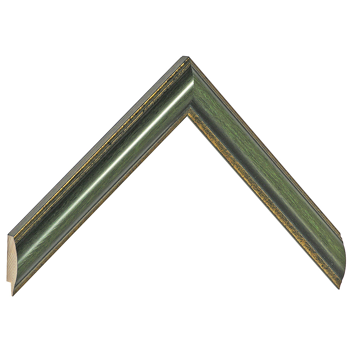 Moulding ayous - Width 25mm - green, gold sight edge