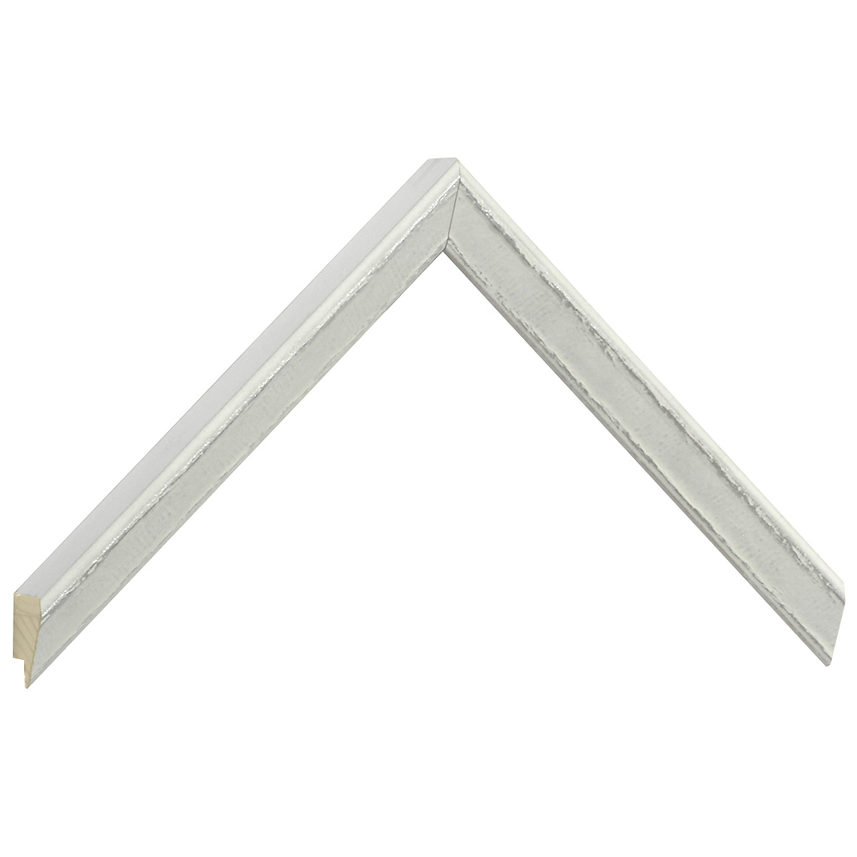 Moulding pine, 21mm height - White, silver decorations