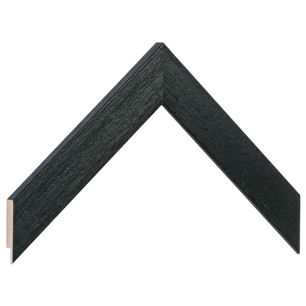 Moulding ayous, width 30mm height 14 - black, open grain