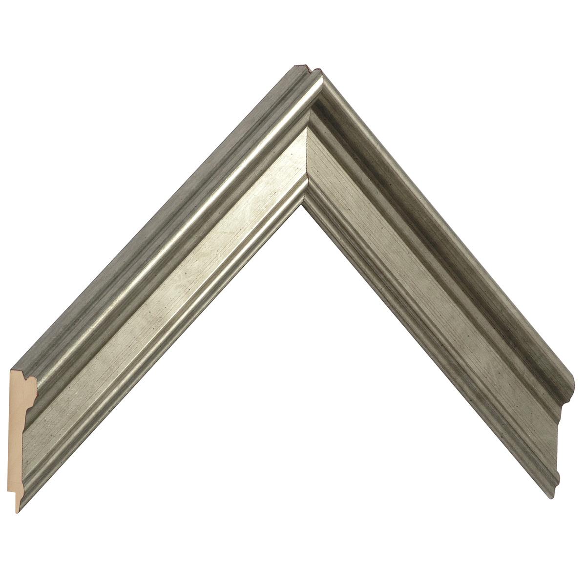 Moulding finger-joint pine Width 34mm, Silver