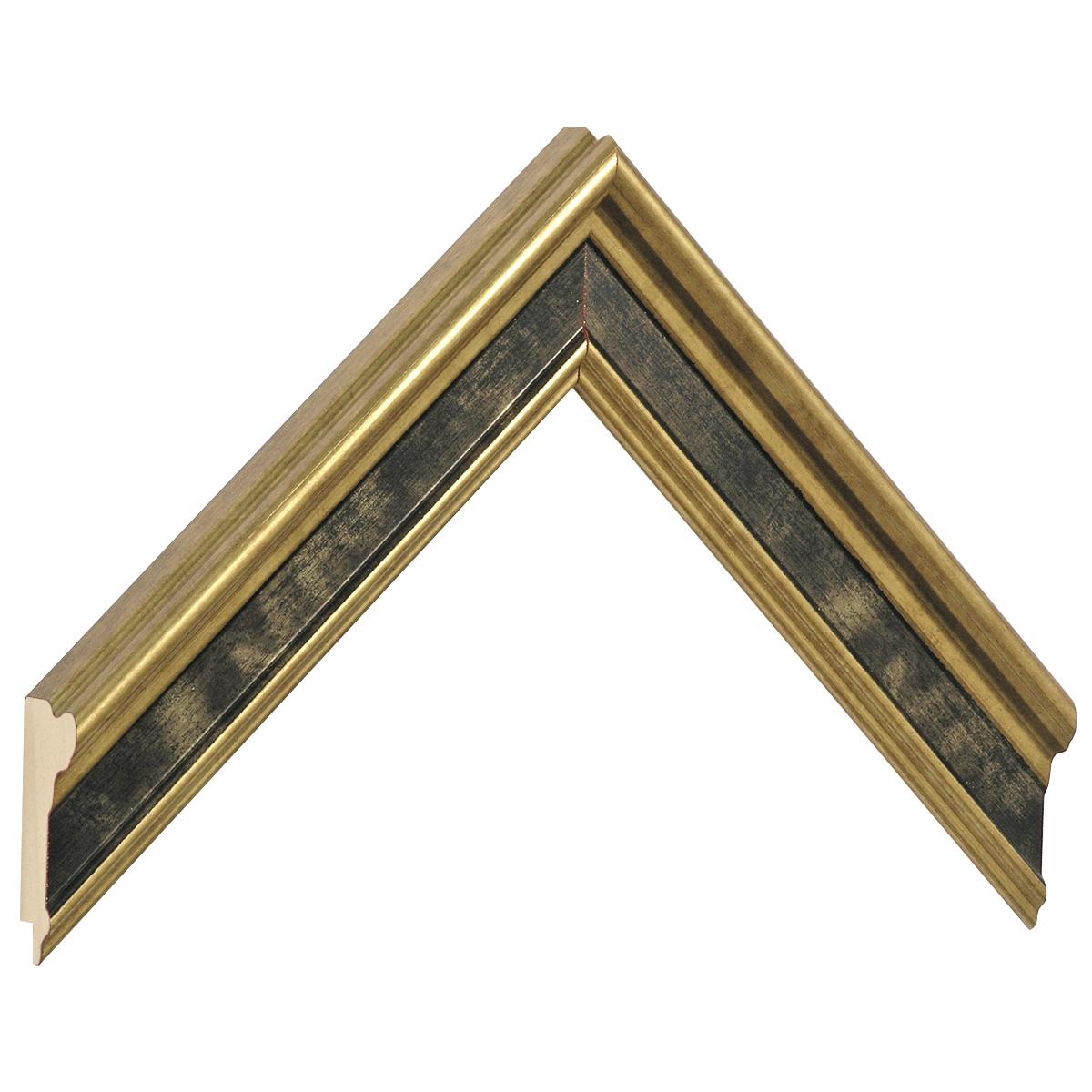 Moulding finger-joint pine Width 34mm, Gold, black band