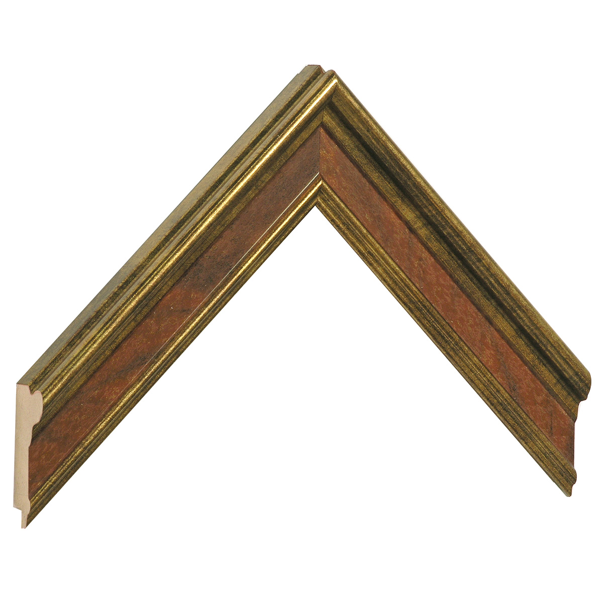 Moulding finger-joint pine Width 34mm, Gold red band