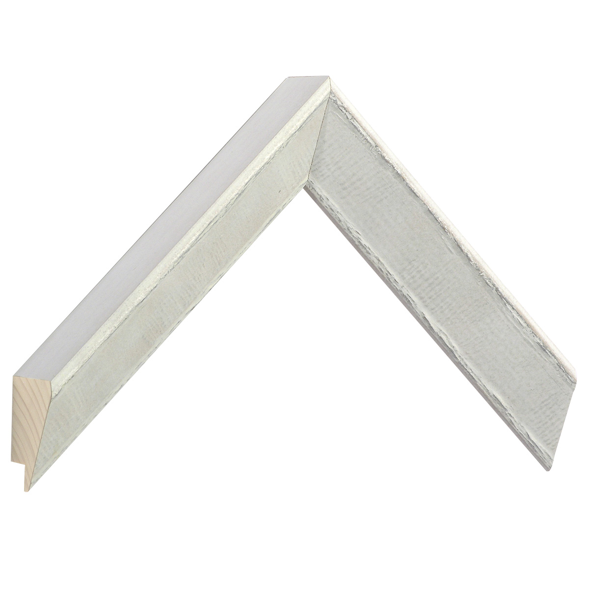 Moulding pine 32 mm height - White with silver decor