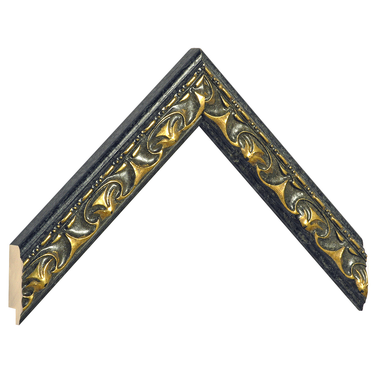 Moulding ayous black with golden relief decorations