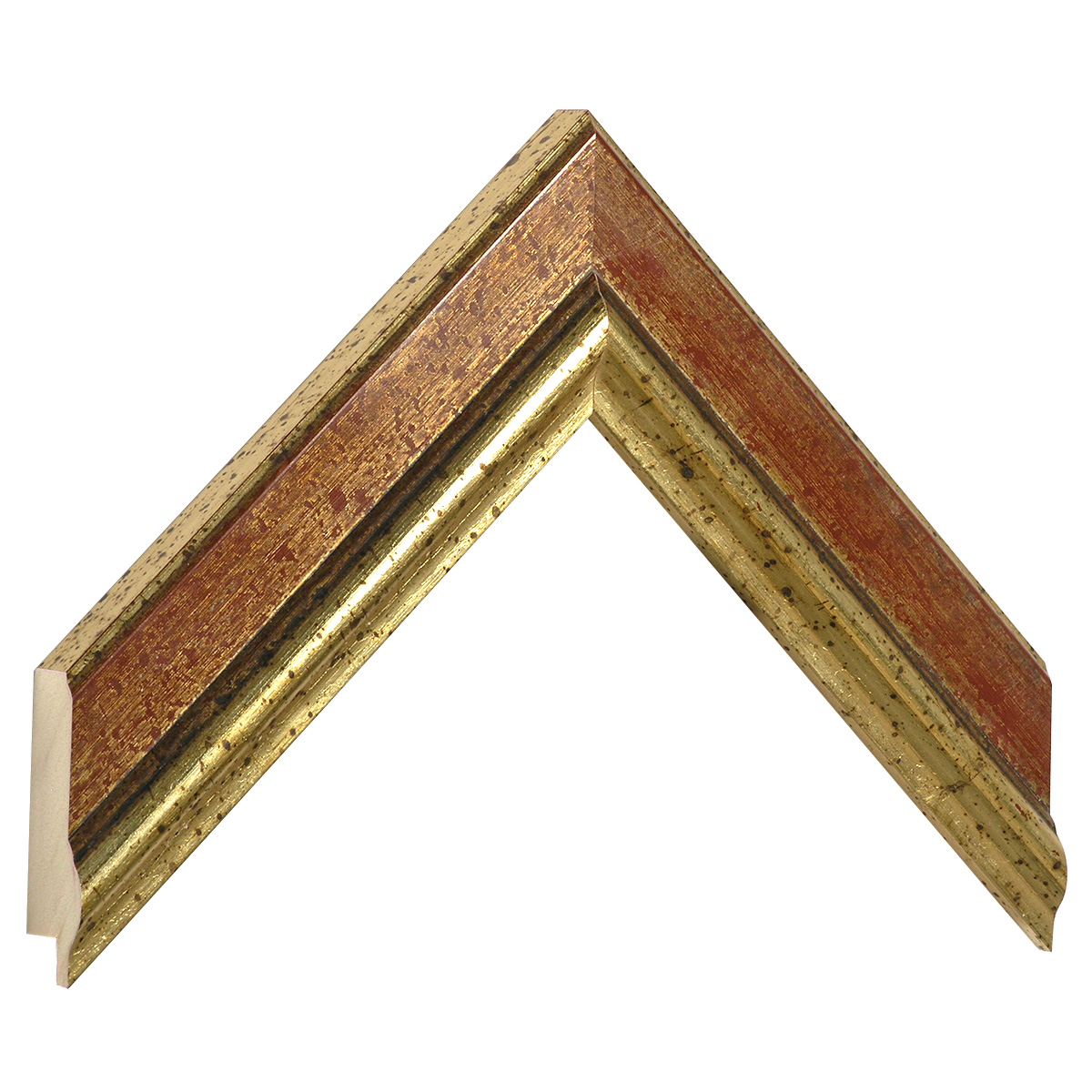 Moulding ayous 41mm - distressed gold with red band
