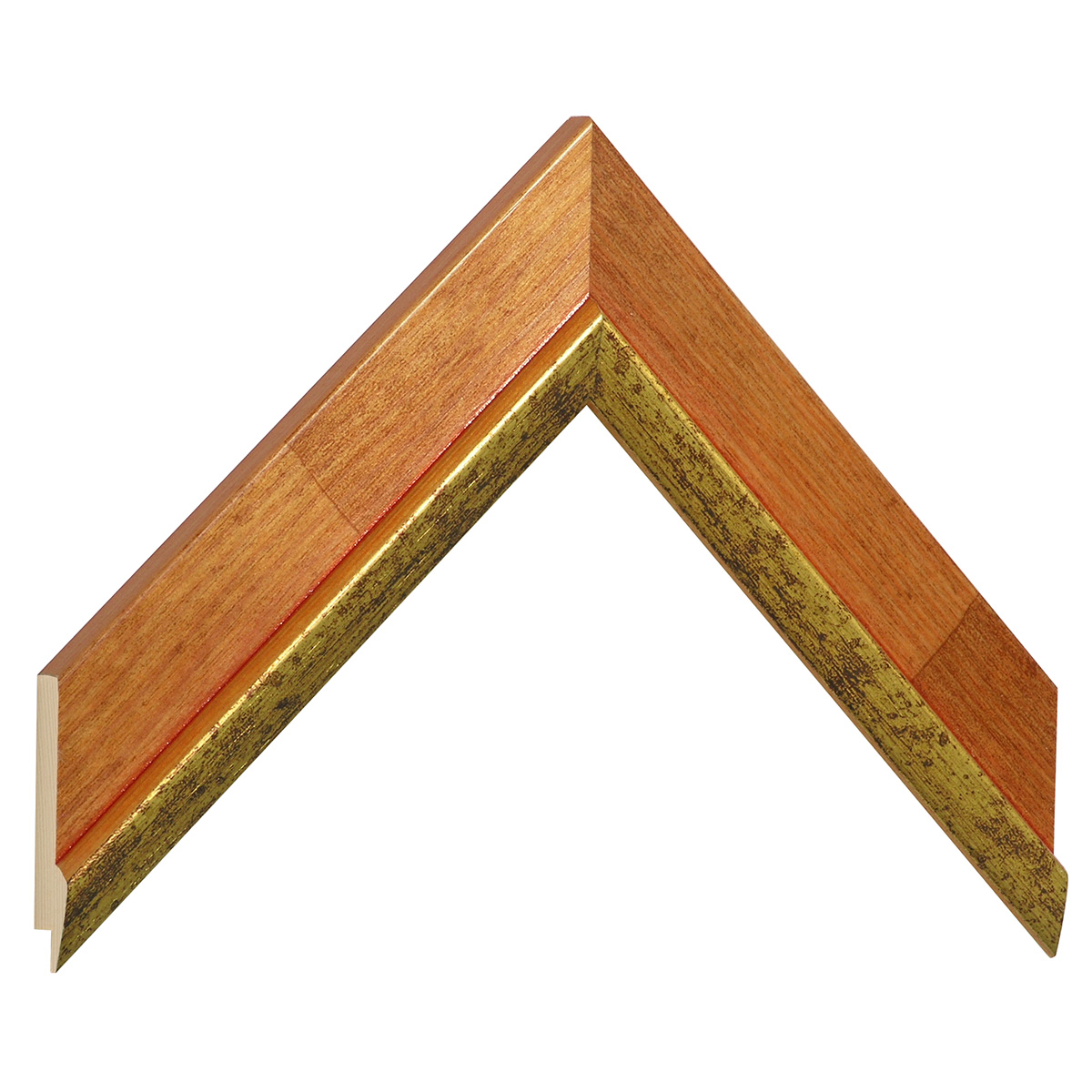 Moulding pine 39mm - cherry colour with gold edge
