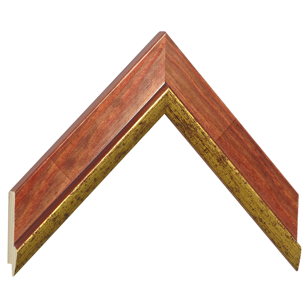 Moulding pine 39mm - mahogany colour with gold edge