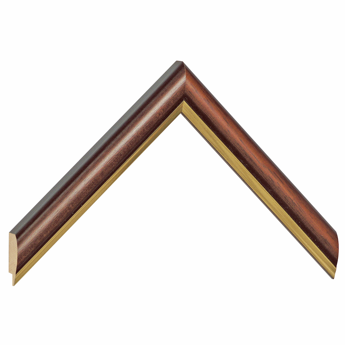 Moulding ayous 23mm - antique walnut with gold edge